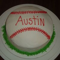 Baseball Cake Baseball cake I made for my nephew's 11th birthday. My husband gave me the idea not to level off the top layer cake so it would look...