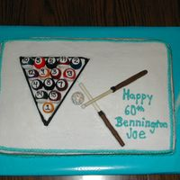 Birthday Cake - Pool Theme The pool balls were made w/ gumballs and gum paste with royal icing for the numbers. The cue sticks were wooden dowels covered in melting...