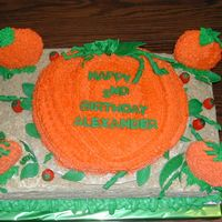 Pumpkin Patch Birthday Party Cake This cake was for a two-year old's birthday party at a pumpkin patch. The base cake is a two-layer cake covered in white buttercream...