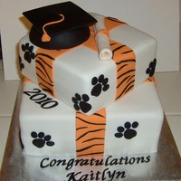 High School Graduation Cake School mascot is a tiger :) All decorations done in fondant.