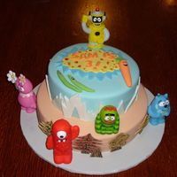 Yo Gabba Gabba!   Decorated with fondant except for the characters which were purchased at Toys R Us.