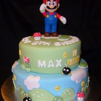 Mario Bros. Cake Cake for 8th Birthday. Top figure is a toy. All other decorations are fondant.