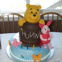 Winnie The Pooh & Piglet Cake I made this cake for my twin girls' 2nd birthday last week. The honey pot is cake as well as the bottom layer. Pooh's head &...