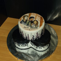 Twilight Saga New Moon Cake This cake is red velvet cake. The bottom is 3- 6 inch cakes and the top is an 8 inch round. The bottom is covered in buttercream & the...
