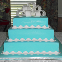 Teal & White Square Wedding Cake