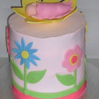 Flower Shower Baby shower cake done to match a quilt that was going to be used in the baby's room.