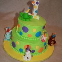 Frog And Friends Cake Cake for a little boy turning 1. Cake done to match invites.
