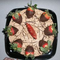 Yummy   double chocolate cake with whhipped dark chocolate ganshe and dipped strawberry's