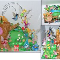 Tinkerbell's Pixie Hollow - Birthday Cake For My Daughter Obviously the characters are toys and some have stands but the tree trunk/stump is rice crispies with fondant and then luster dusted with...