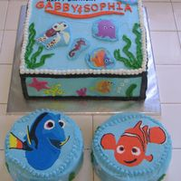 "Finding Nemo  Cakes made for two little girls (2 and 4 yrs) sharing a birthday. All iced in buttercream. FBCT for Nemo and Dori on 6"" rounds. Other..."