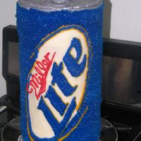 Miller Lite Beer Can  This is 6 layers of 6-inch chocolate rounds. Every 2 layers supported on cake board with bubble straws and a single dowel through the...
