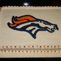 Denver Broncos Cake   This was for a boys birthday. I free-handed this logo and think it turned out pretty good!