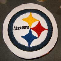 Steelers Cake   This was done for my Brother-in-law who loves the Steelers. I free-handed the logo.