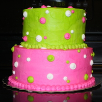 1St Birthday Cake   This is a two tiered birthday cake for a 1st birthday. Lime green & hot pink were the colors..all buttercream.