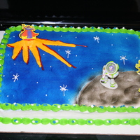 Buzz Lightyear Cake   This was for a boys birthday. I did airbrush some of the moon.