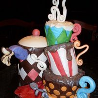 Cafe Mad Hatters Cake Coffee pot instead of teapot, for a males birthday! Chocolate cakes covered in fondant, details in chocolate and fondant. TFL