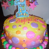 1St Birthday Test Cake BC with fondant accents - chocolate cake with chocolate mousse layers