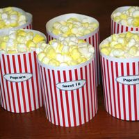 Popcorn Buckets The cupcakes are made using the Wilton 6-cup Jumbo Muffin Pan. They were frosted in Bettercreme. The 'popcorn' on top was made...