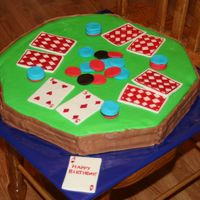 Poker Cake Cake has buttercream frosting and mmf accents.