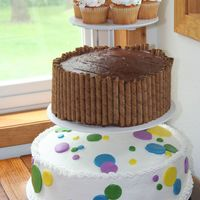 Polka Dots This was for my dad's 50th birthday. The bottom was done in Bettercream frosting wtih mmf accents. The middle cake was chocolate...