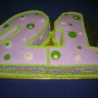 Twenty First Birthday Cake vanilla cake with vanilla BC and MMF accents.