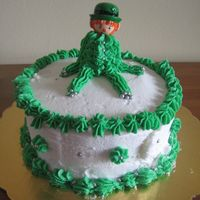 Leprechaun Cake Yellow cake with vanilla BC. Decorated by my 10 year old daughter.