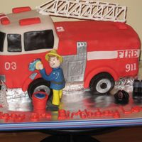 Firetruck Cake This is chocolate WASC (thanks Kakeladi!) with vanilla BC (thanks Serious_cakes!). Covered in MMF with gumpaste figure and Wilton candles....