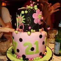 21St B-Day Cake  This one was difficult to carve because it was a chocolate chip cookie cake. I still think it turned out pretty cute and my step sister...