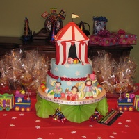 "Circus Birthday A three-tiered birthday cake for the shared birthday party of two little ""clown"" girls turning 3 and 5, and one little ""..."