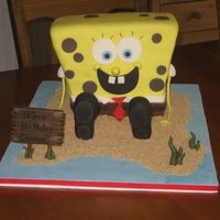 Spongebob   I thought this cake was going to be a disaster, but it came together in the end. Good thing Spongebob has spots to cover flaws!
