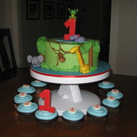 Jungle 1St Birthday   Covered in buttercream with gumpaste figres