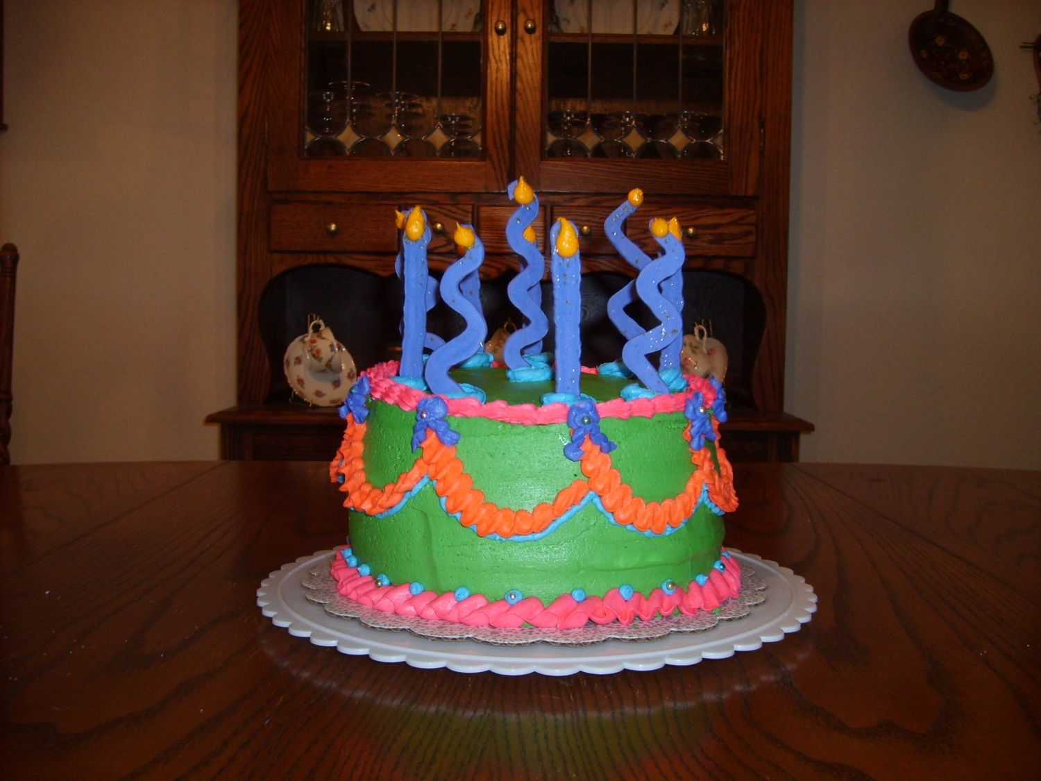 Happy Birthday  This cake originally started out as a crooked cake but as you can see, isn't. Check out cake disasters for the whole story. It is a...
