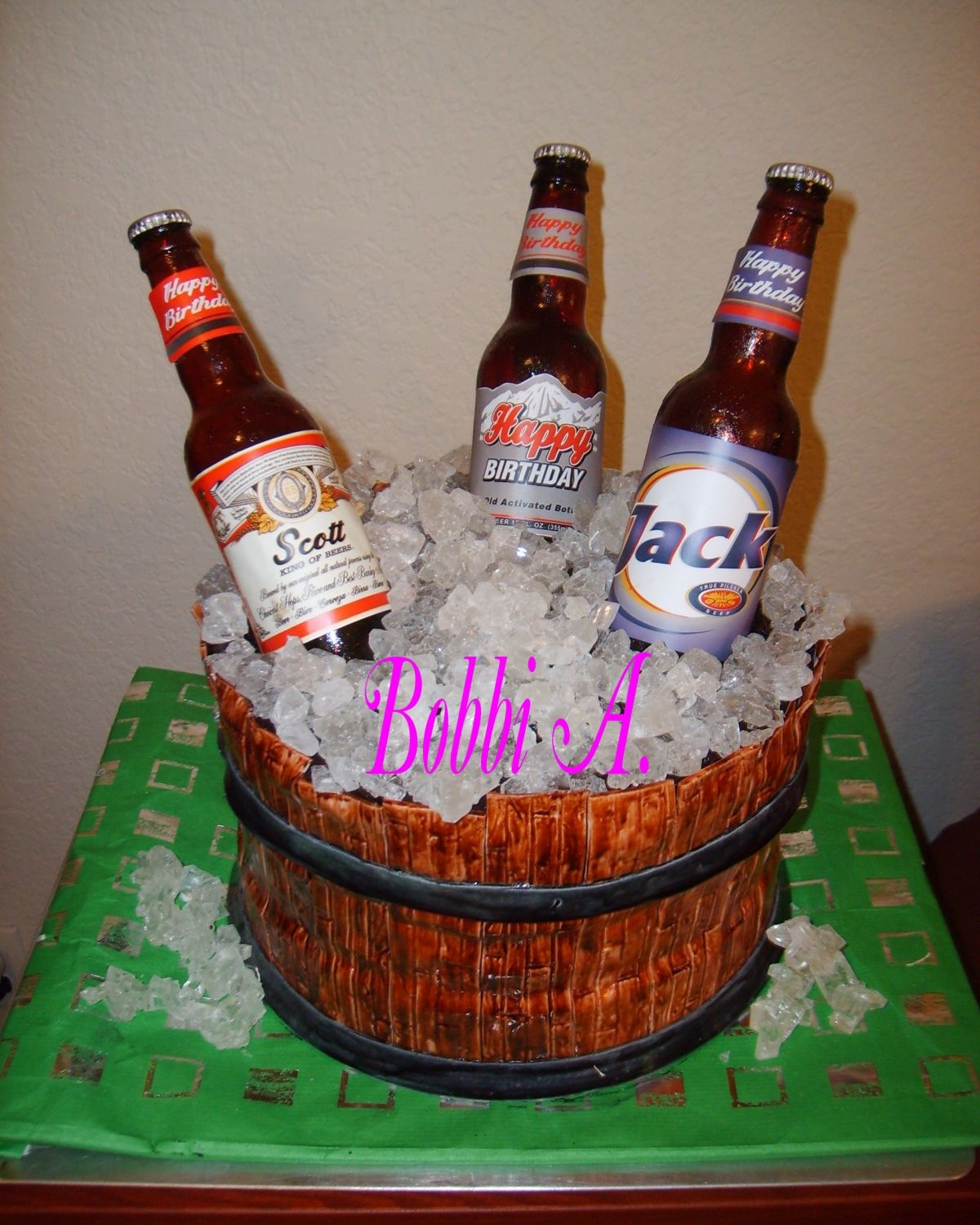 Beer Barrel  2 layer black forest cake with sugar bottles and rock candy ice. Thanks to all who posted pics that inspired me to attempt this one myself...