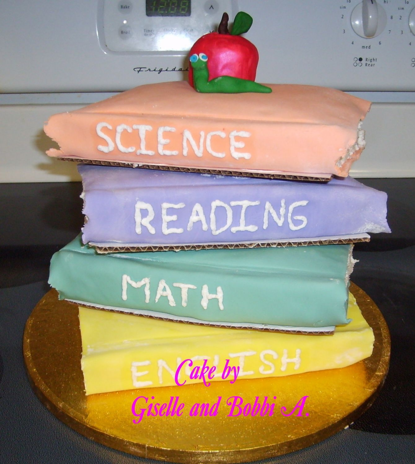 Teacher Appreciation Day   My daughter's first attempt with stacked books. It was a very last minute cake (made last night) for teacher appreciation day today.