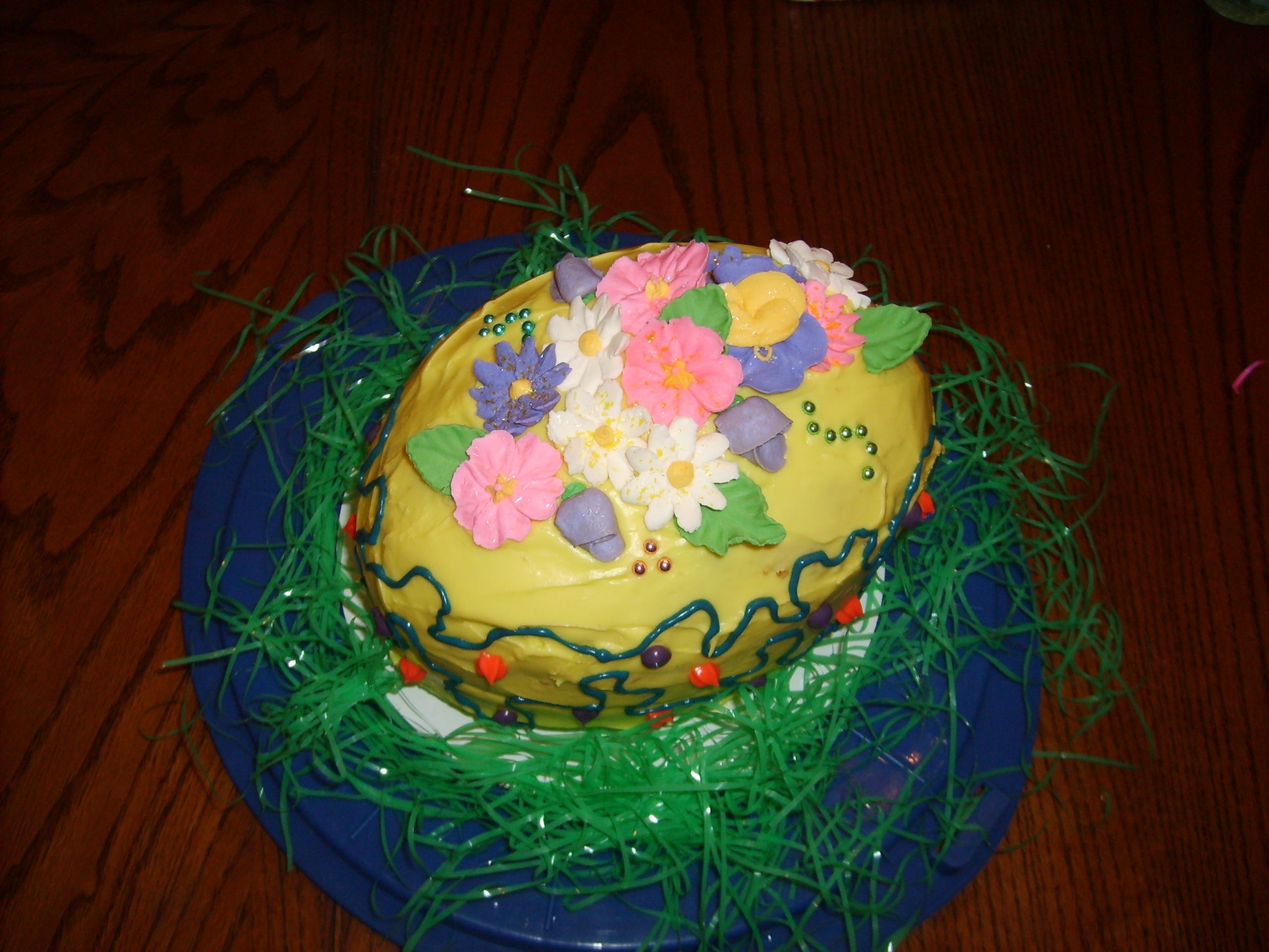 Easter Cake   Carrot cake with cream cheese frosting and RI flowers.