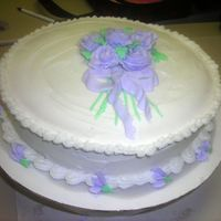 Final Class Cake - Course 1 Buttercream Icing - Wilton Rose with Sweetpeas.