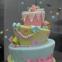 "Flower Fun 6,9,12"" layers covered in fondant with fondant accents. Inspired by DD's dress."