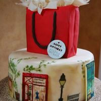 "Shop Girl 10"" fondant covered cake for friend's birthday. made painted shops of the places she liked. vines also hand painted. all other..."