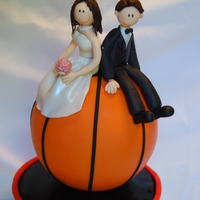 Hoops cake made as a present for friends. ball is RCT covered in fondant. figures are gumpaste.