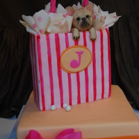 "Puppy Present cake for lady who wanted pet french bulldog incorporated into the cake. cakes are 6"" and 8"" squares. all fondant covered and..."