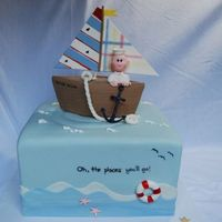 "Sailor Taylor 10"" square cake covered with fondant for baby shower. mother had nautical, sailboat themed nursery. sailboat made to match decor. she..."