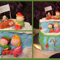 A Charlie Brown Christmas Cake This cake recreates scenes from A Charlie Brown Christmas. Charlie is getting advice on holiday cheer from lucy and Sally is cuddling up to...
