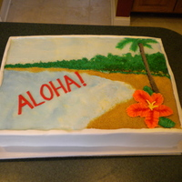 Aloha! 12 x 18 sheet cake with a tropical theme for a local Toastmasters group.