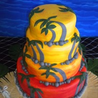Sunset Cake Buttercreme icing covered in yellow homemade fondant. The red color was painted onto each tier, and fondant palm trees and rocks were added...
