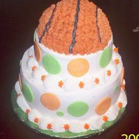 Girl Basketball Cake this is a two tier basketball cake for a 10 year girl would love this sport. i have a 10in round,7in round and half sport ball on top.