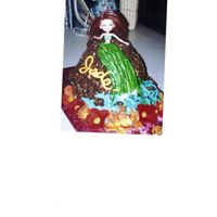 Hula Girl   Hula girl on top of volcano with water coming up sides of cake with a hibiscus lae