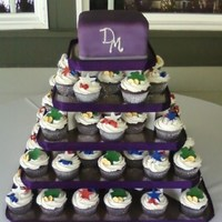 Square Cupcake Tower W/square Cake Top This was for a bride and groom who wanted something fun and unique for their wedding! She is from the US and he is from Ireland so they...