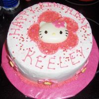 Hello Kitty Birthday cake for my grand daughter. Buttercream and edible glitter with fondant flowers around the edges. The Hello Kitty face was molded...