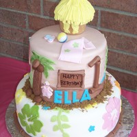 Luau Beach Theme Cake Bottom tier is lemon cake with lemon and strawberry filling, top tier is italian cream with apricot filling, both covered with buttercream...
