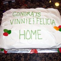 Sheet Cake Housewarming Lemon cake with lemon whipped cream frosting. Fondant leaves to go with my birds nest cake.